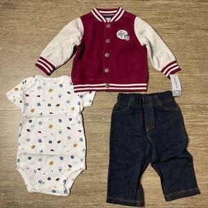 Carter's Baby Boy's 3 Piece Sport Cardigan Set